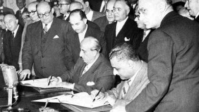 صورة الرئيس (شكري القوتلي) يعلن عن الوحدة مع مصر