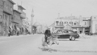 الحمار و السيارة في شوارع حلب عام 1950