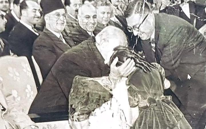 شكري القوتلي في افتتاح مدرسة جول جمال في دمشق عام 1958