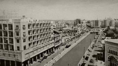 صورة صورة لضفاف نهر بردى من سطح فندق سمير اميس عند جسر فيكتوريا عام 1958