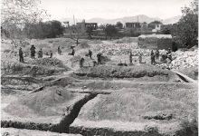 صورة أعمال حفر الأساسات لبناء مدرسة التجهيز الأولى بدمشق عام 1929