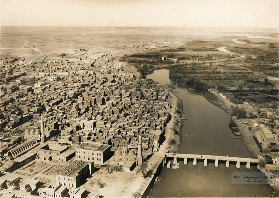 دير الزور 1933- الجسر القديم و السوق المقبي