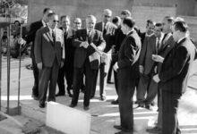 صورة سعيد الغزي أثناء وضع حجر الأساس لمبنى نقابة المحامين بدمشق
