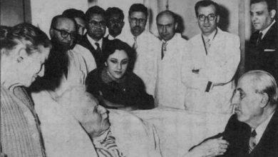 شكري القوتلي يزور فارس الخوري في مشفى المجتهد