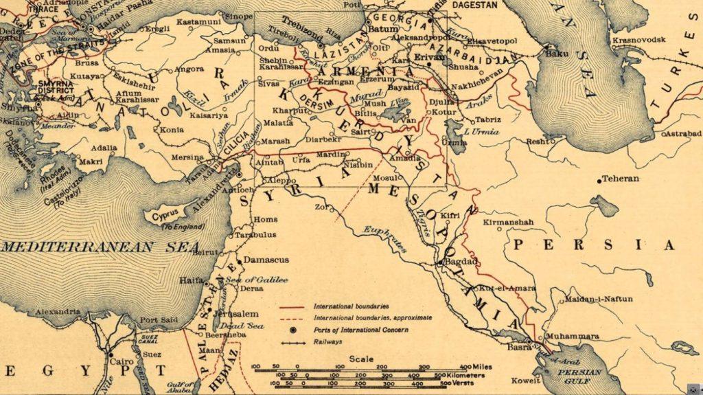 حدود سورية مع تركيا حسب خريطة أميركية من عام 1920