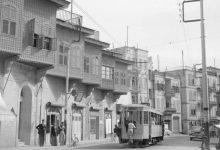 صورة الترامواي الكهربائي في شوارع حلب خمسينات القرن العشرين
