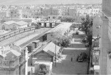 صورة الساحة الخلفية والشارع المجاور لمحطة الحجاز دمشق 1953