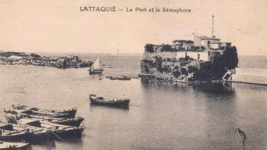 اللاذقية: فنار المرفأ وبقايا القلعة 1924
