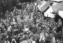 صورة الحركة التجارية في شارع الحلوانيين في بداية القرن العشرين