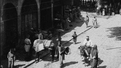 صورة دمشق 1911- شارع الملك فيصل و سوق المحايرية