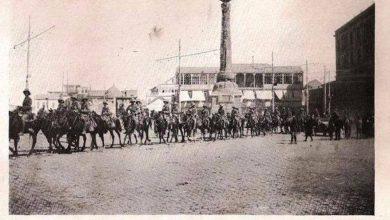 دمشق 1918 - القوات البريطانية تعبر ساحة المرجة