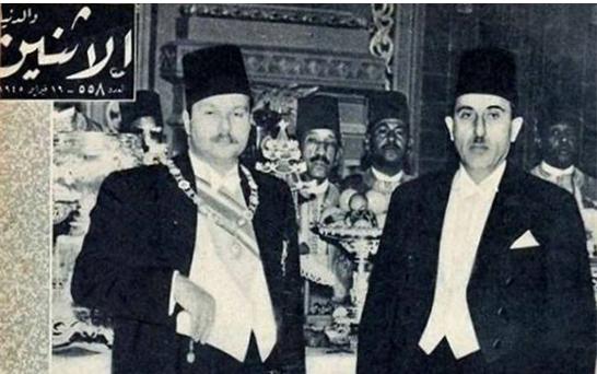 شكري القوتلي والملك فاروق عام 1945