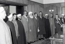 صورة جمال عبد الناصر يستقبل علماء دمشق