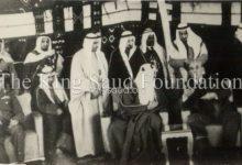 صورة الملك سعود بضيافة فواز الشعلان في عدرا عام 1956