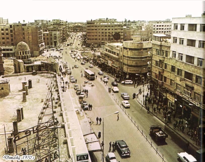 دمشق - شارع بورسعيد..وقبة الخانقاه اليونسيه اثناء الهدم..بالسبعينيات