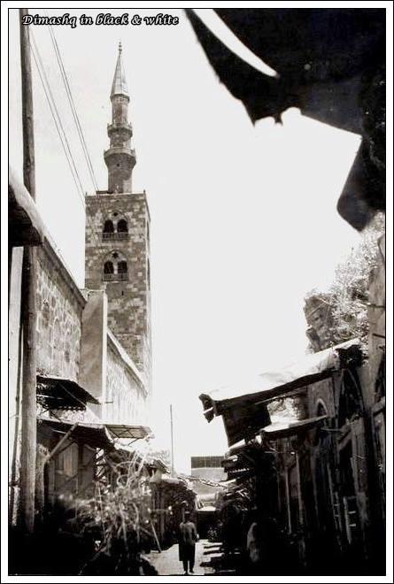 دمشق 1911: القباقبية (الجدار الجنوبي للجامع الأموي)..مئذنة عيسى ومئذنة قايتباي...