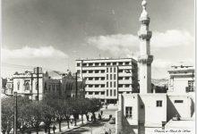 صورة دمشق – شارع النصر ومئذنة جامع التكية المولوية بالخمسينات..