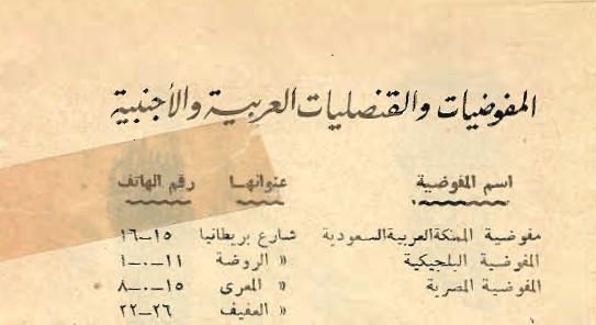 صورة أسماء المفوضيات والقنصليات في سورية حتى نهاية عام 1948