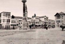 صورة دمشق ساحة المرجة – النصب التذكاري بعد تأهيله بمناهل للمياه 1917