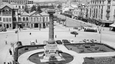 دمشق 1953 - الحديقة الأنيقة المطوقة للنصب التذكاري في ساحة المرجة