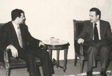 صورة نائب رئيس الجمهورية صدام حسين يلتقي الرئيس حافظ الاسد  1979