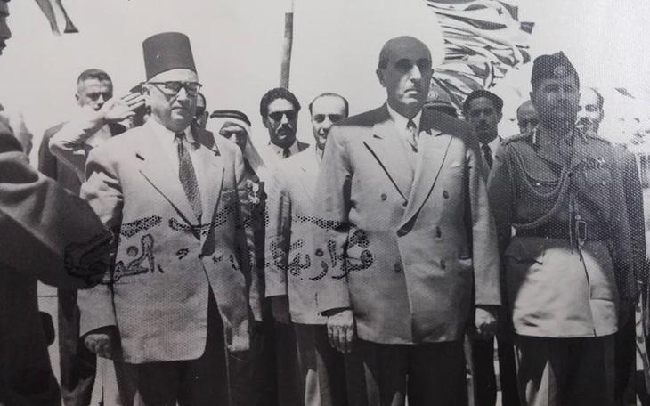 شكري القوتلي والرائد بهاء الدين الخوجة في عمان 1957