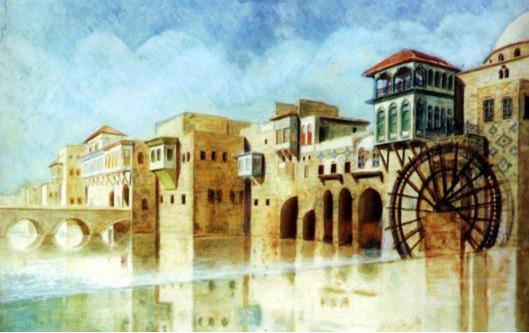 لوحة للفنان خالد معاذ - نواعير العاصي