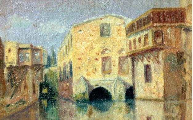 صورة منظر في دمشق .. لوحة للفنان محمود حماد (3)