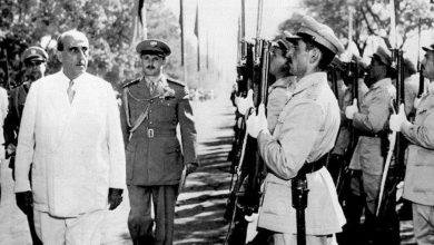 صورة شكري القوتلي في افتتاح دورة معرض دمشق الدولي عام 1957