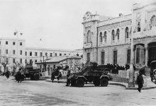 دمشق 1949- الآليات العسكرية أمام محطة الحجاز بعيد إنقلاب الزعيم
