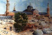 صورة الجامع الأموي وخان الحرير..لوحة للفنان خالد معاذ