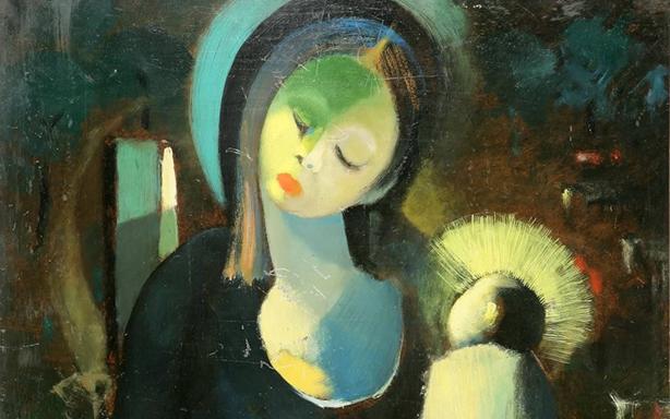 لوحة العذراء للفنان أسعد زكاري