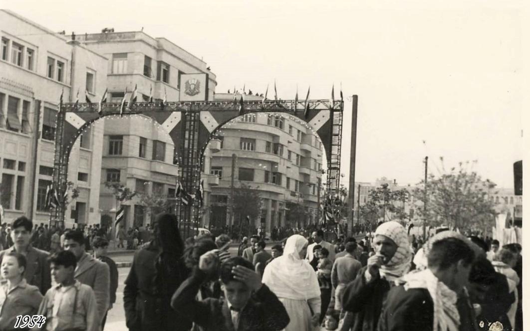 دمشق 1954- طلعة الحجاز في احتفالات الجلاء