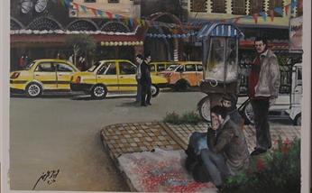لوحة - شارع الحميدية وجامع الدالاتي في حمص