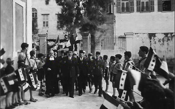 اللاذقية 1944- زيارة شكري القوتلي إلى مدرسة الفرير