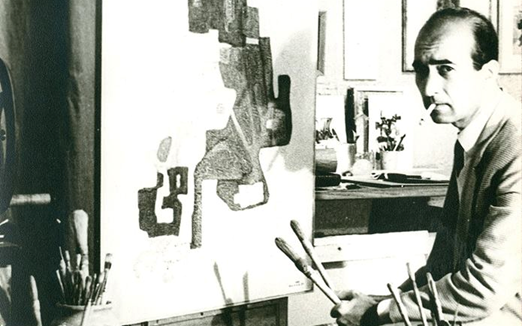 صورة محمود حماد في مرسمه بدمشق في منتصف الستينيات