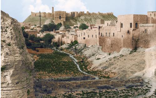 صورة القلعة وجامع الخسروية في حلب مطلع القرن العشرين