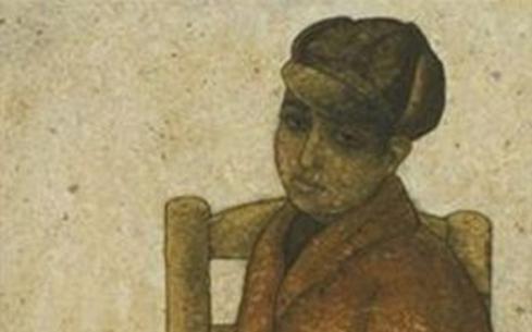 الفتى ذو السترة الحمراء.. لوحة للفنان لؤي كيالي