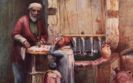 صورة لوحة بائع الحلويات في دمشق القديمة 1908م
