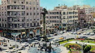 دمشق 1966 - ساحة المرجة والنصب التذكاري للاتصالات