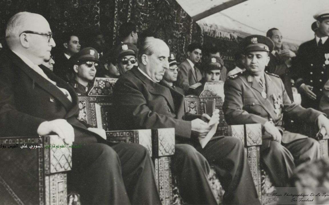 الرئيس شكري القوتلي في احتفال عيد الجلاء 1957