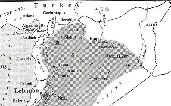 صورة خريطة المناطق التي ادارتها حكومات العهد الفيصلي