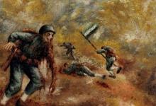 الجندي في المعركة - لوحة للفنان لؤي كيالي