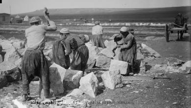 عمال من حلب أثناء شق الخط الحديدي الحجازي