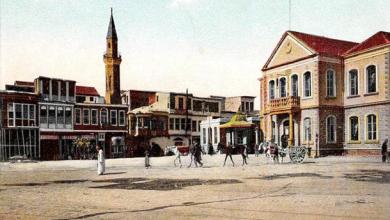 دمشق 1907- ساحة المرجة ومبنى بلدية دمشق وجامع تنكز
