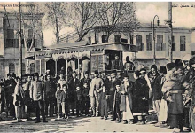صورة دمشق 1907- تسيير الحافلات الكهربائية – الترامواي  رسمياً