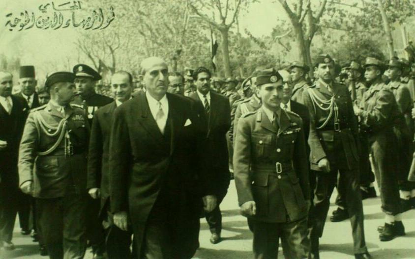 الملك الأردني حسين بن طلال في زيارة إلى دمشق عام 1956