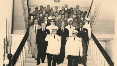صورة دمشق 1953- أديب الشيشكلي يتسلم رئاسة الجمهورية من فوزي سلو