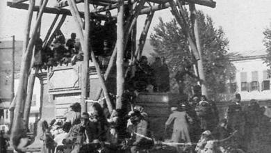 دمشق 1907 - أعمال تشييد النصب التذكاري في ساحة المرجة