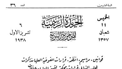 صورة مرسوم تشكيل لجنة بلدية حلب برئاسة غالب قطر آغاسي 1938